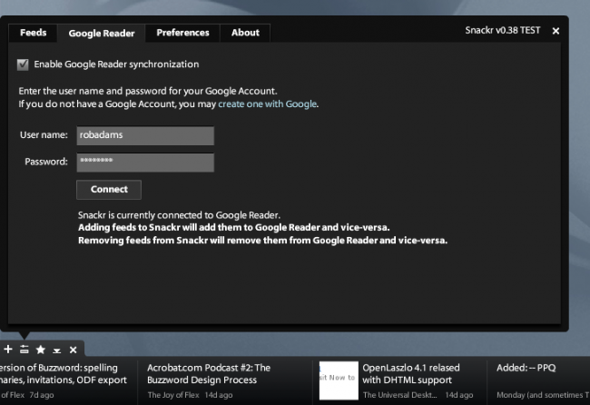 Snacker Google Reader options tab